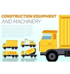 Web banner with construction trucks vector