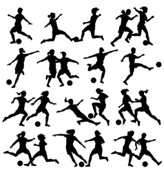 Women playing football vector