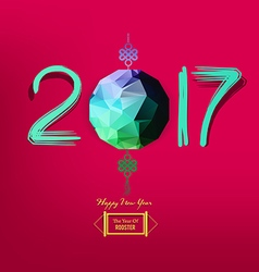 Chinese new year 2017 polygonal lantern design vector