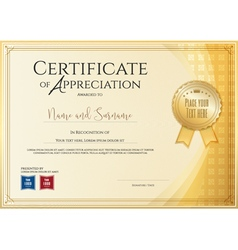 Certificate template for achievement appreciation vector
