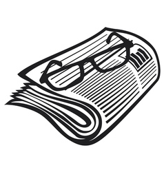 Newspaper icon and reading glasses vector