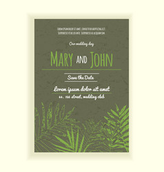 Greenery wedding invitation card vector
