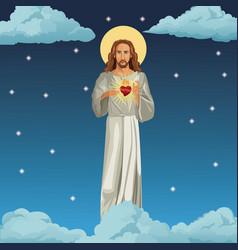 Jesus christ sacred heart night background vector