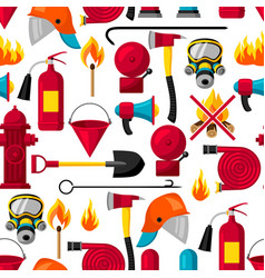 Seamless pattern with firefighting items fire vector