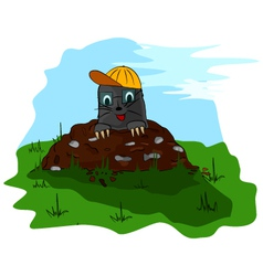 Mole with cap on molehill vector