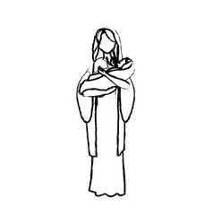 Virgin mary and her holy baby religious vector