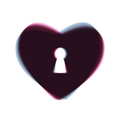 Heart with lock sign  colorful icon shaked vector