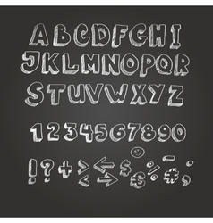 Chalk on blackboard style alphabet vector