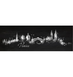 Silhouette chalk Venice vector image