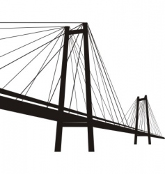 Cable suspension bridge vector