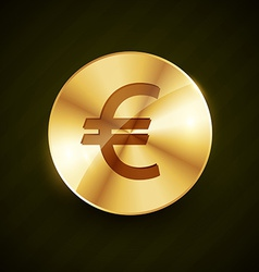 Golden euro symbol coin shiny vector