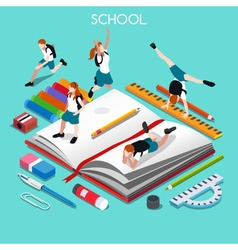 School set 05 people isometric vector