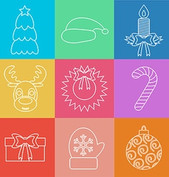 Set of christmas icons outline multicolored vector