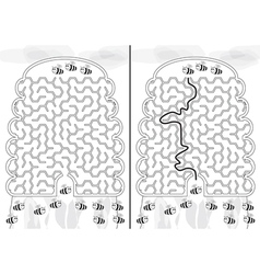Bees maze vector image