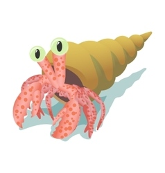 Crab in shell cartoon icon vector