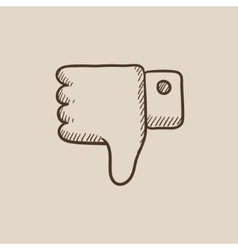 Thumb down hand sign sketch icon vector image