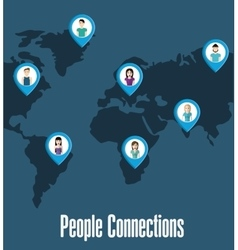 People icon connections concept flat vector