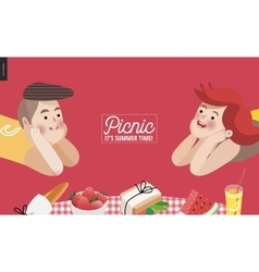 Picnic elements banner template vector