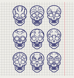 Ballpoint pen mexican skull set vector