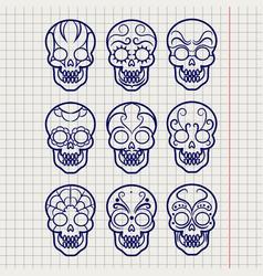 ballpoint pen mexican skull set vector image