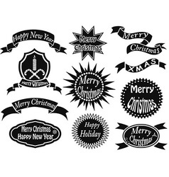 black christmas labels vector image