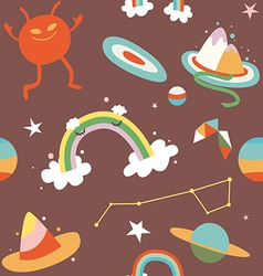 Cartoon cosmos and alien seamless pattern vector
