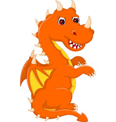 Cute baby dragon cartoon sitting with look up vector