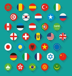Flags of world icons set vector