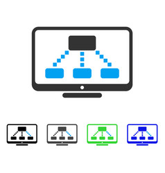 Hierarchy monitor flat icon vector