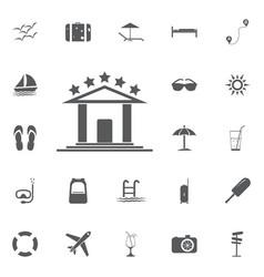 hotel icon summer set vector image vector image