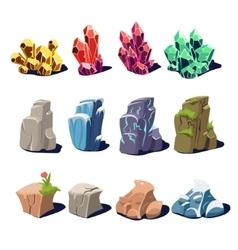 Magic crystals and rocks textures vector
