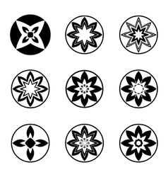 Mandala elements tattoo icon set aster star vector
