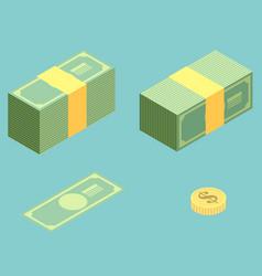 Money isometric icon set vector