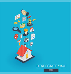 Real estate integrated 3d web icons growth and vector
