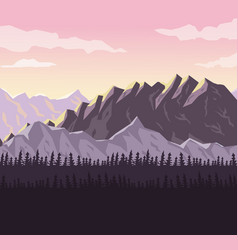 realistic sunset landscape background of snowy vector image vector image