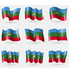 Set of KarachayCherkessia flags in the air vector image