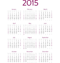 Simple 2015 year calendar grid vector