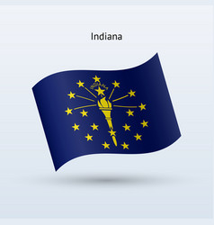 state of indiana flag waving form vector image vector image