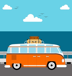 Summer concept vacation beach and sea flat design vector image