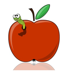 The worm in the apple vector image vector image