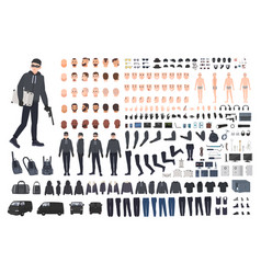thief burglar or robber diy kit collection of vector image vector image