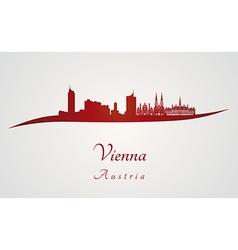 Vienna skyline in red vector image