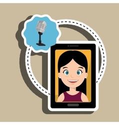 woman cartoon smartphone microphone vector image