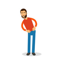 Young happy bearded man in red pullover standing vector