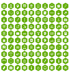 100 work space icons hexagon green vector