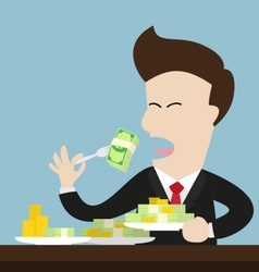Businessman eat money bill and coin as meal vector