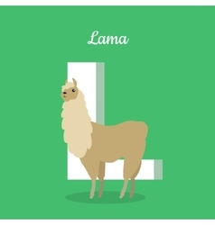 Animals alphabet letter - l vector