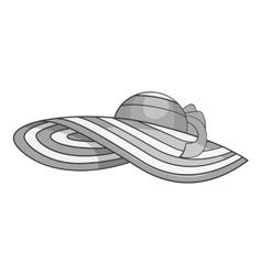 Beach hat icon gray monochrome style vector