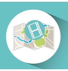cinema map pin pointer design vector image