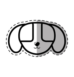 Face puppy domestic mammal dot line shadow vector